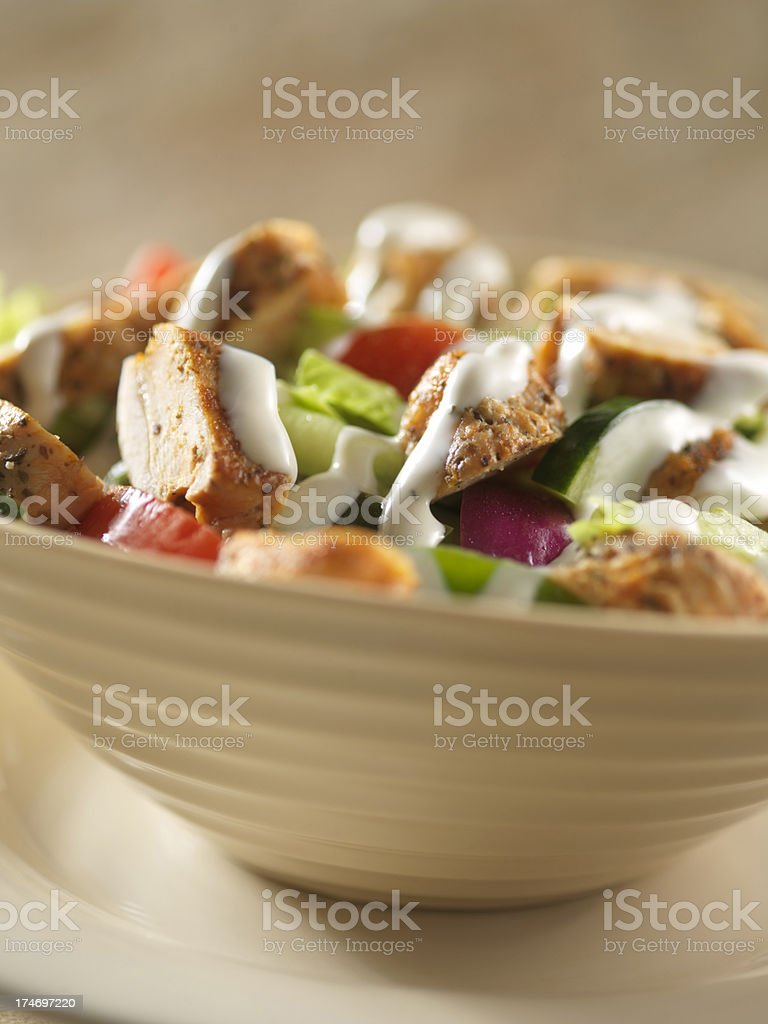 Close up of Grilled Ranch Chicken Salad stock photo