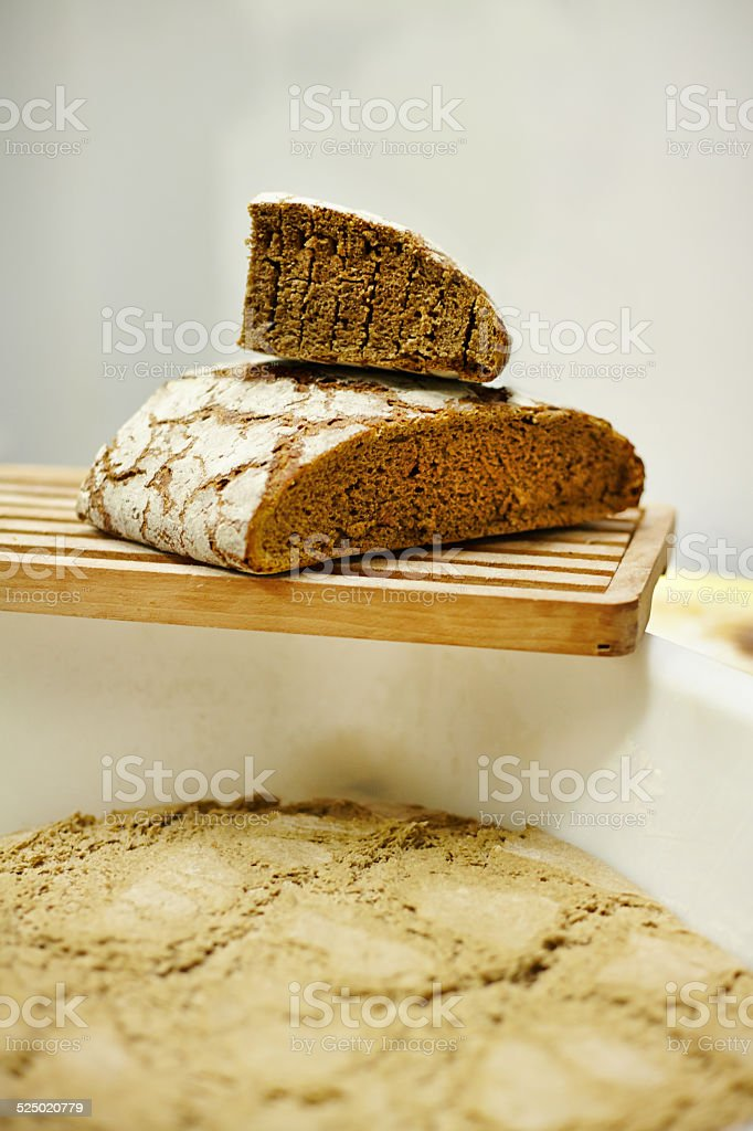 Close up of hand and bread stock photo