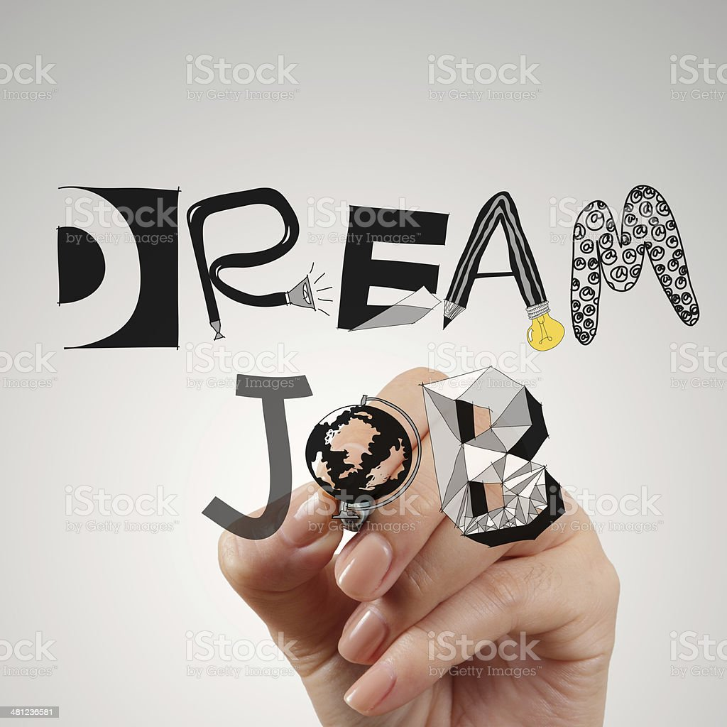close up of hand drawing design words DREAM JOB stock photo