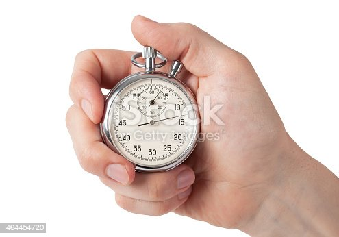 istock Close up of hand holding stopwatch, isolated on white background 464454720
