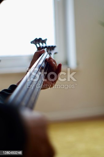 Close up of hand playing the bass guitar. The bass guitar, electric bass, or simply bass, is the lowest-pitched member of the guitar family. It is a plucked string instrument similar in appearance and construction to an electric or an acoustic guitar, but with a longer neck and scale length, and typically four to six strings or courses
