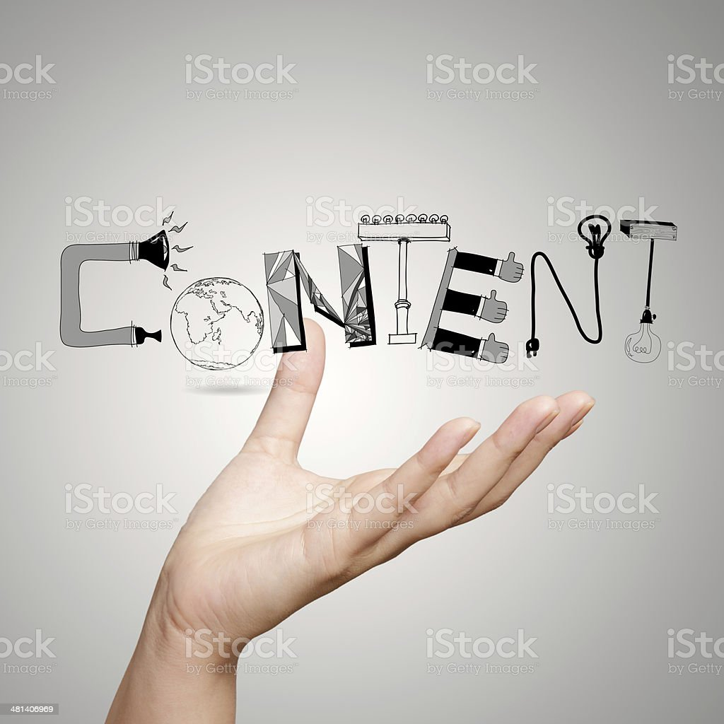 close up of hand showing design word CONTENT as concept stock photo