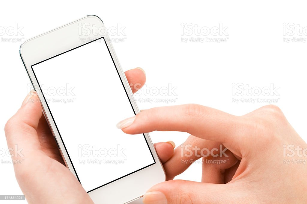 Close up of hands using a smartphone with a blank screen royalty-free stock photo