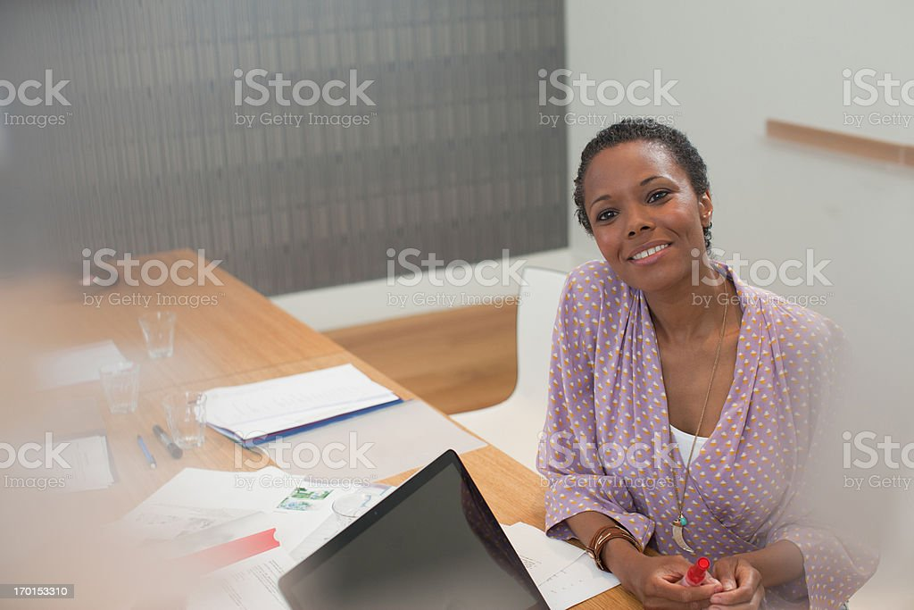 Close up of happy businesswoman royalty-free stock photo