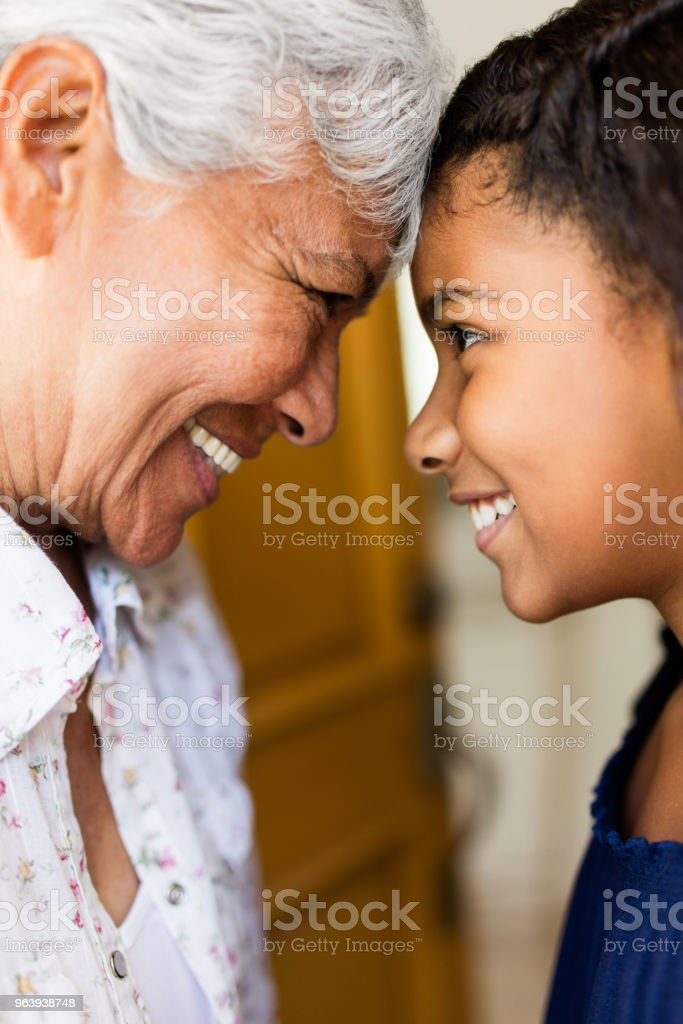 Close up of happy grandmother and teen granddaughter - Royalty-free 12-13 Years Stock Photo