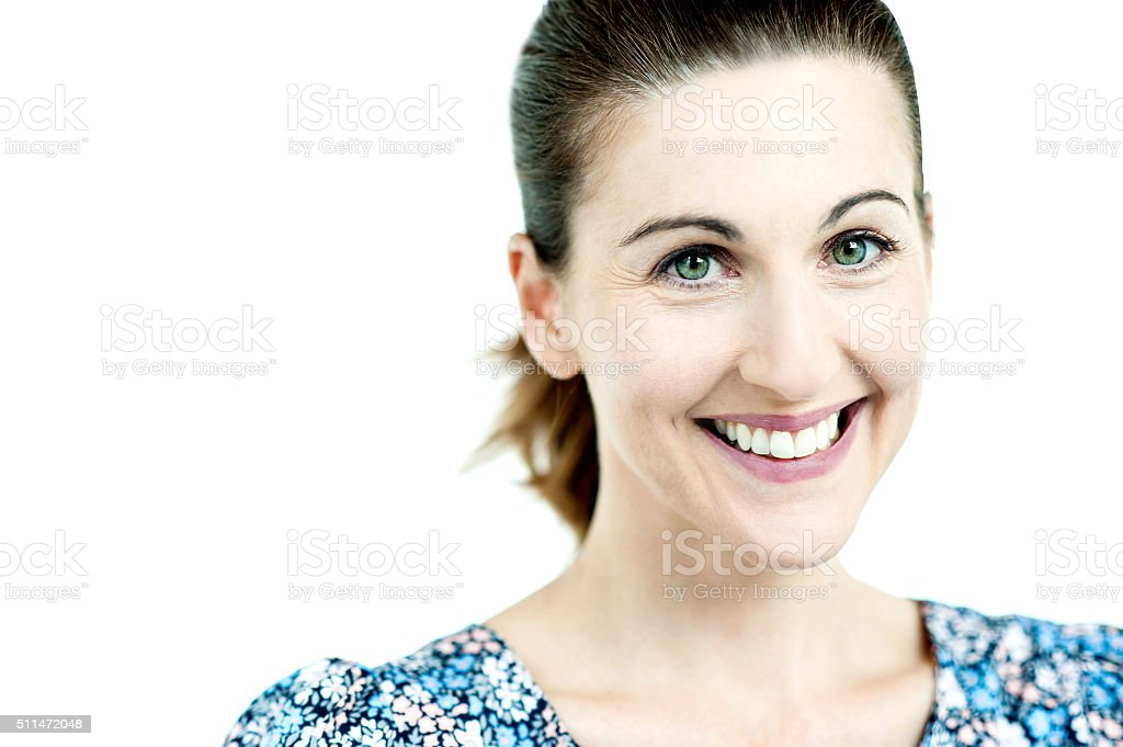Close up of happy woman royalty-free stock photo