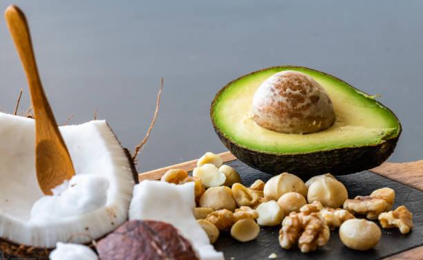 健康生酮食品的特寫 - 脂肪 營養 個照片及圖片檔