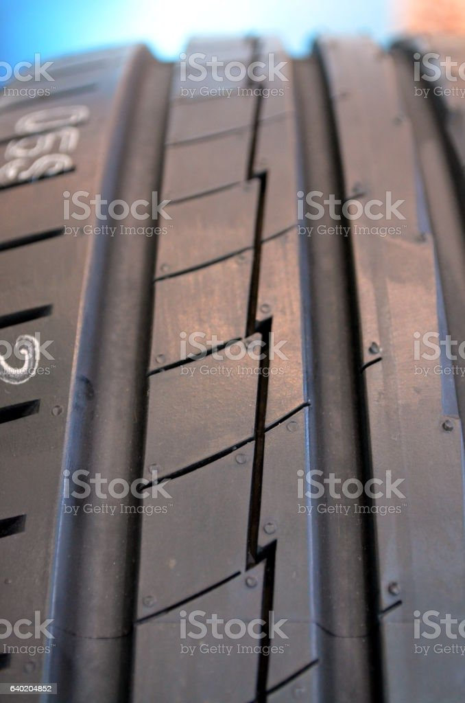 Close up of high performance tire in a tires shop stock photo
