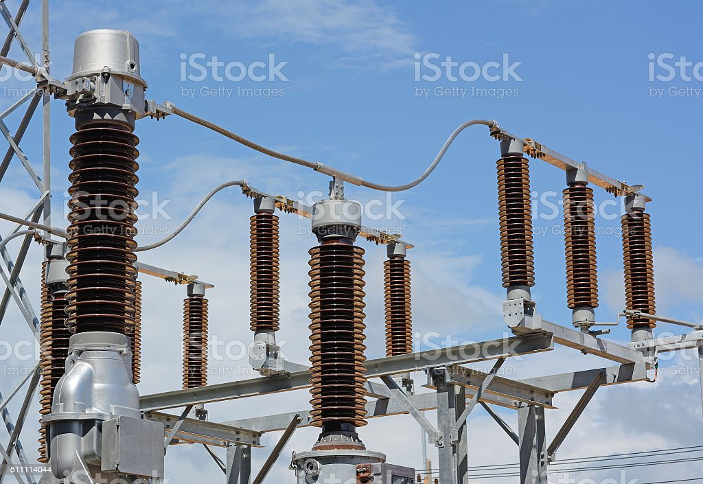 Close up of high voltage insulators at new substation stock photo
