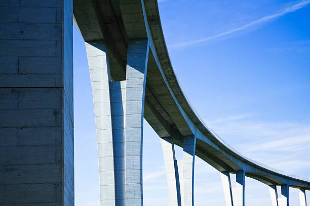Close up of highway viaduct in front of a clear blue sky stock photo