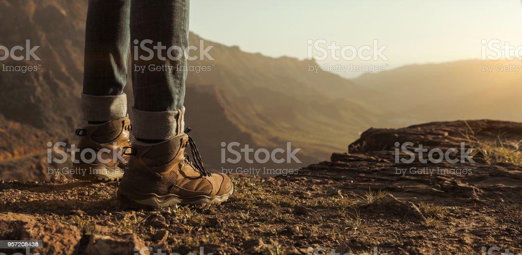 Nahaufnahme von Wanderer Stiefel – Foto