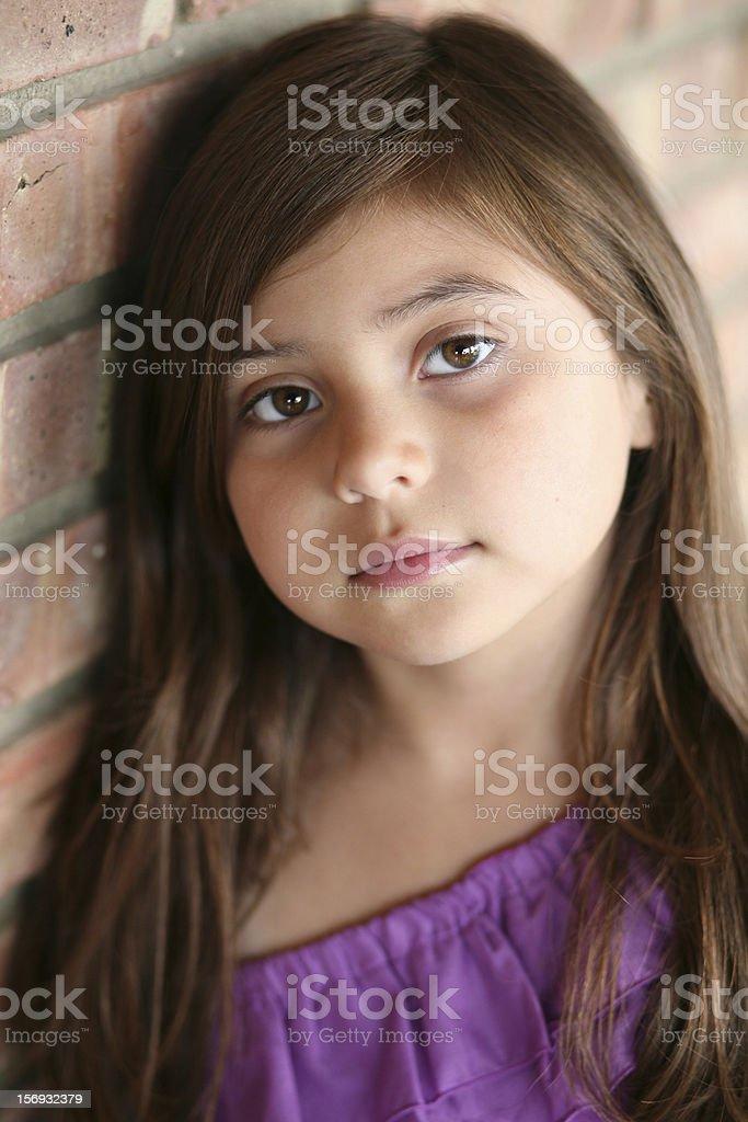 close up of Hispanic little girl stock photo