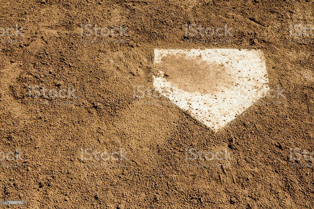 Close up of home plate with loose dirt surrounding stock photo