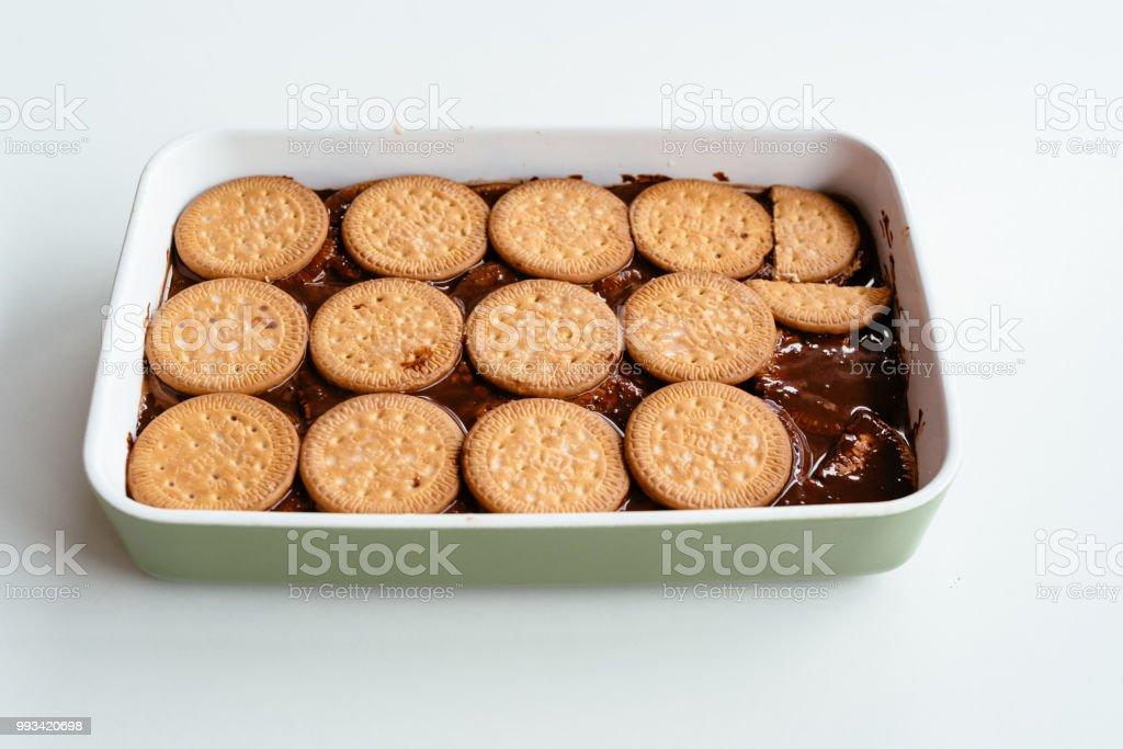 Close up of homemade chocolate cake stock photo