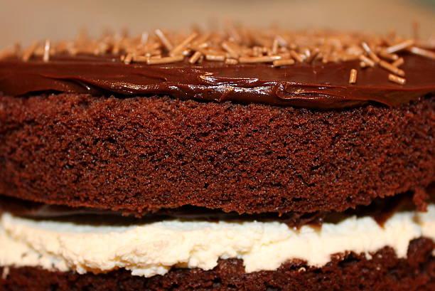 nahaufnahme von hausgemachter schokolade kuchen mit sahne und wird ganache - schokoladen biskuitkuchen stock-fotos und bilder