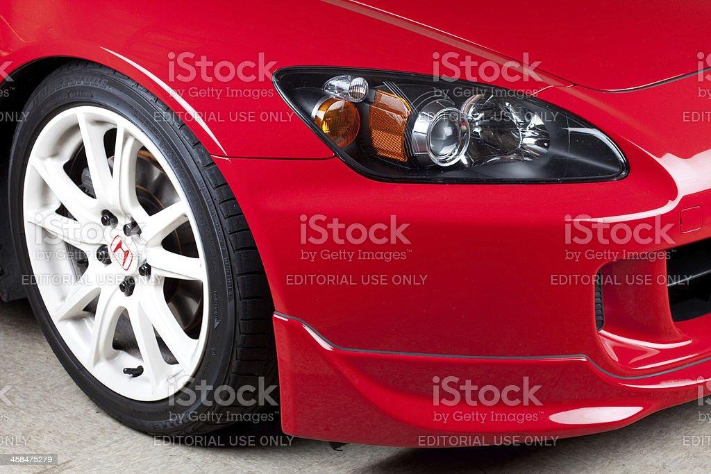 Close up of Honda S2000 wheel, bumper and headlight stock photo