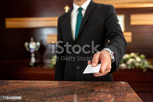 Close up of hotel key card for hotel management access systems
