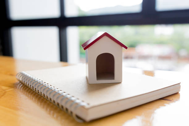 Close up of house model building, mortgage, investment, real estate and property concept stock photo