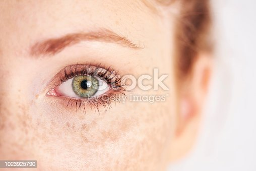 Close up of human's, left, green eye