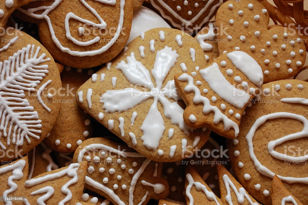 Close up of iced gingerbread Christmas cookie royalty-free stock photo