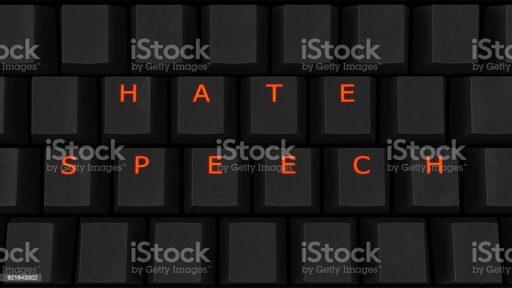 Close Up of Illuminated Glowing Keys on a Black Keyboard Spelling Hate Speech stock photo