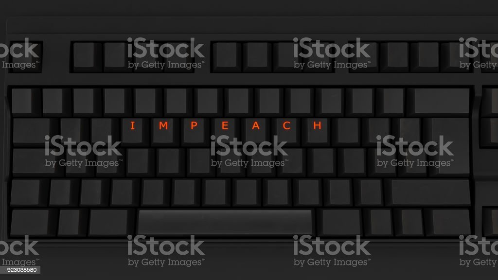 Close Up of Illuminated Glowing Keys on a Black Keyboard Spelling Impeach stock photo