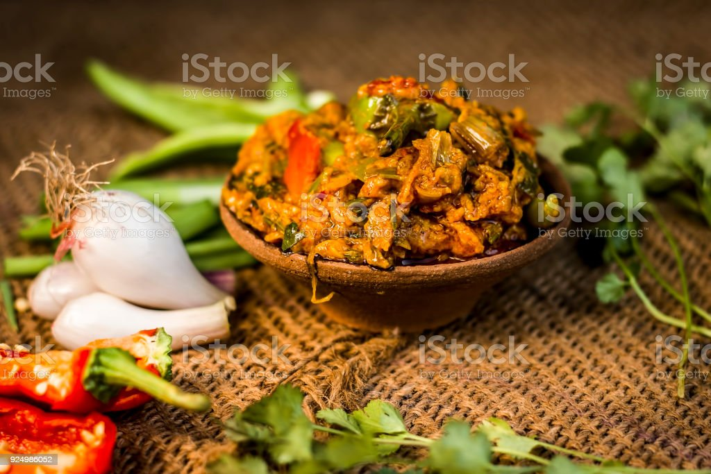 Close up of indian dish eaten in winter season baingan ka bharta close up of indian dish eaten in winter season baingan ka bharta with vegetables like forumfinder Image collections