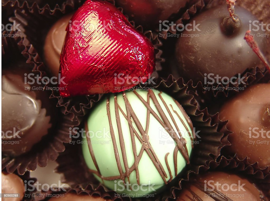 Close Up Of Individual Fine Chocolates royalty-free stock photo