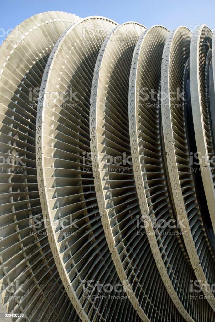 Close up of internal rotor of a steam Turbine stock photo