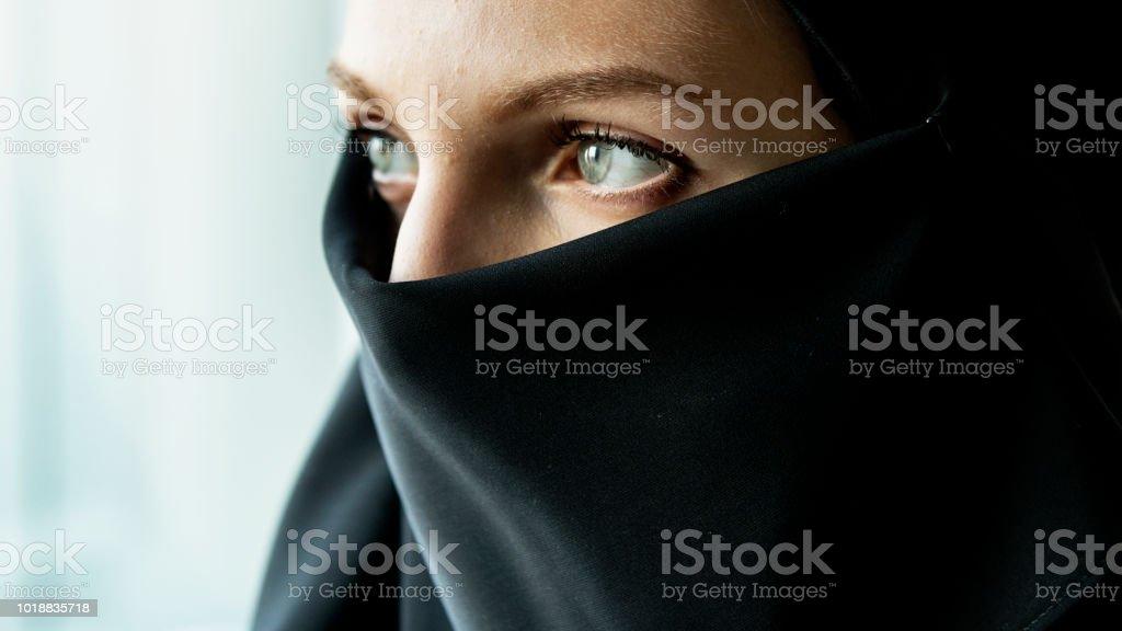 Nahaufnahme eines islamischen Frau Porträt – Foto