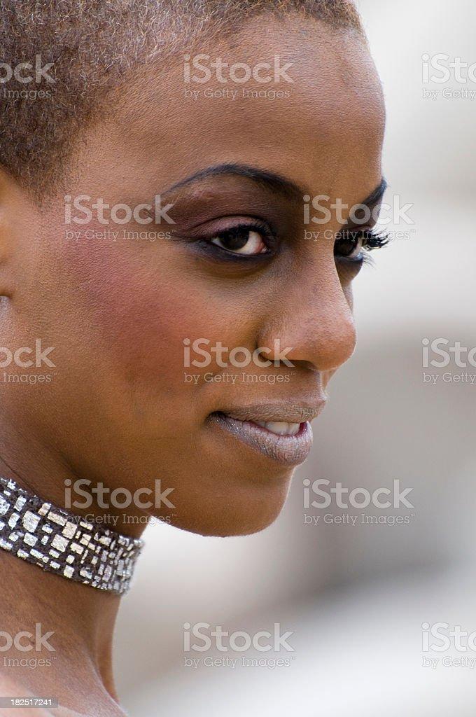 close up of Jamaican woman stock photo