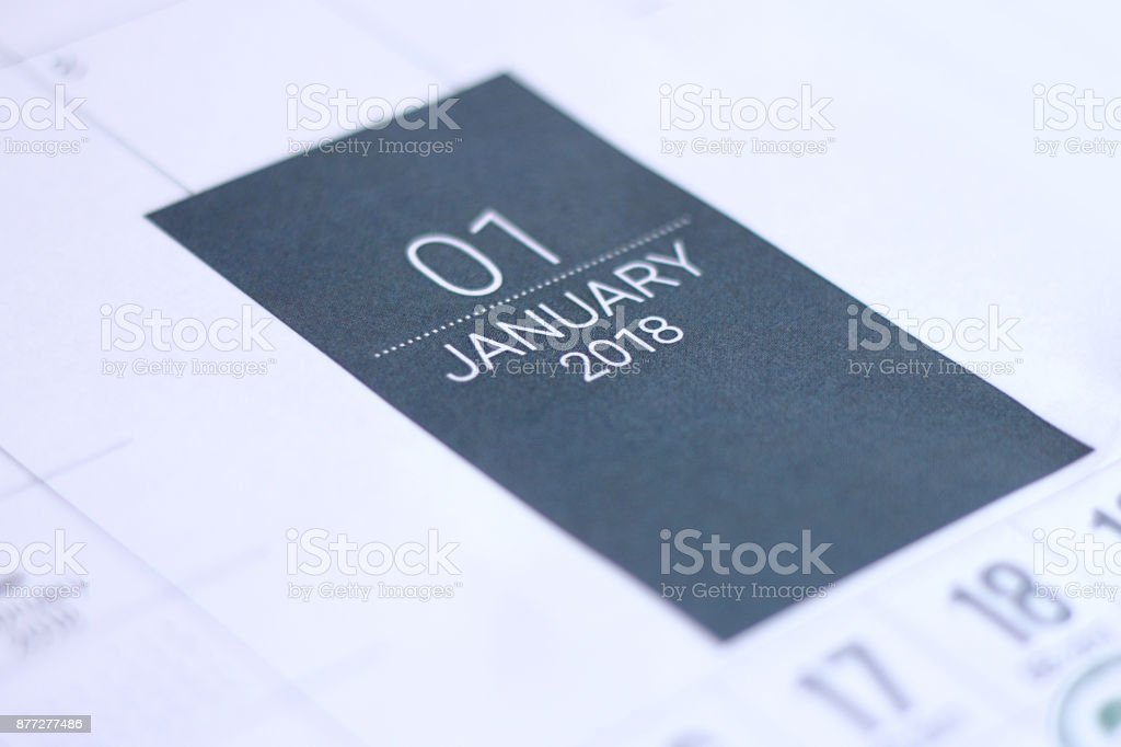 Close up of january 2018 on diary calendar. stock photo