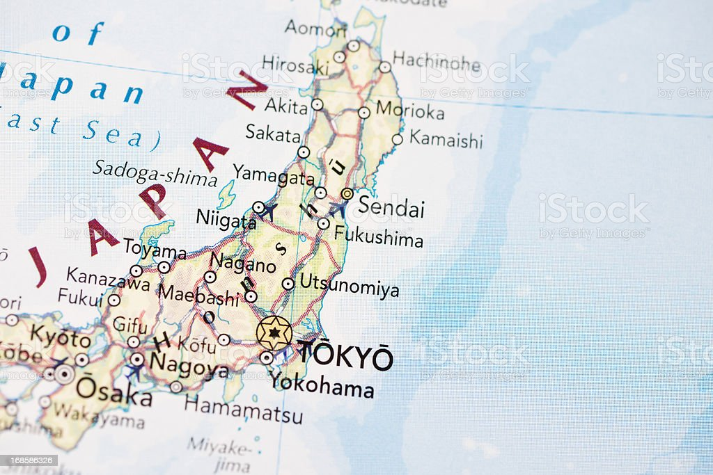 Close up of Japan on a paper map royalty-free stock photo