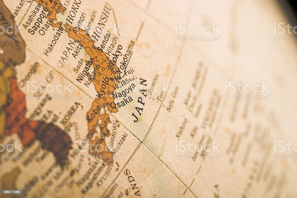 Close up of Japan on globe royalty-free stock photo