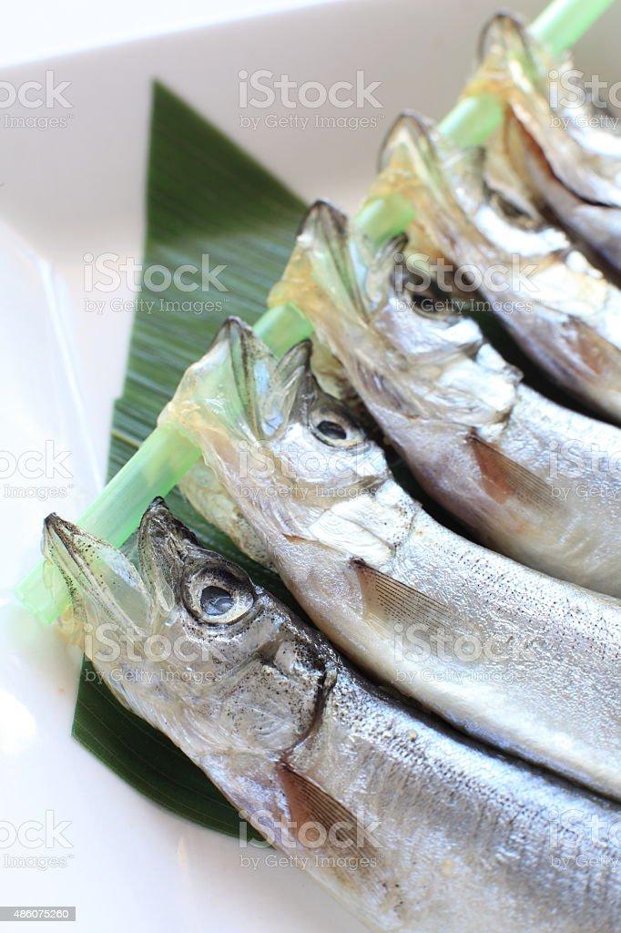 close up of Japanese food ingredient, Shishamo stock photo