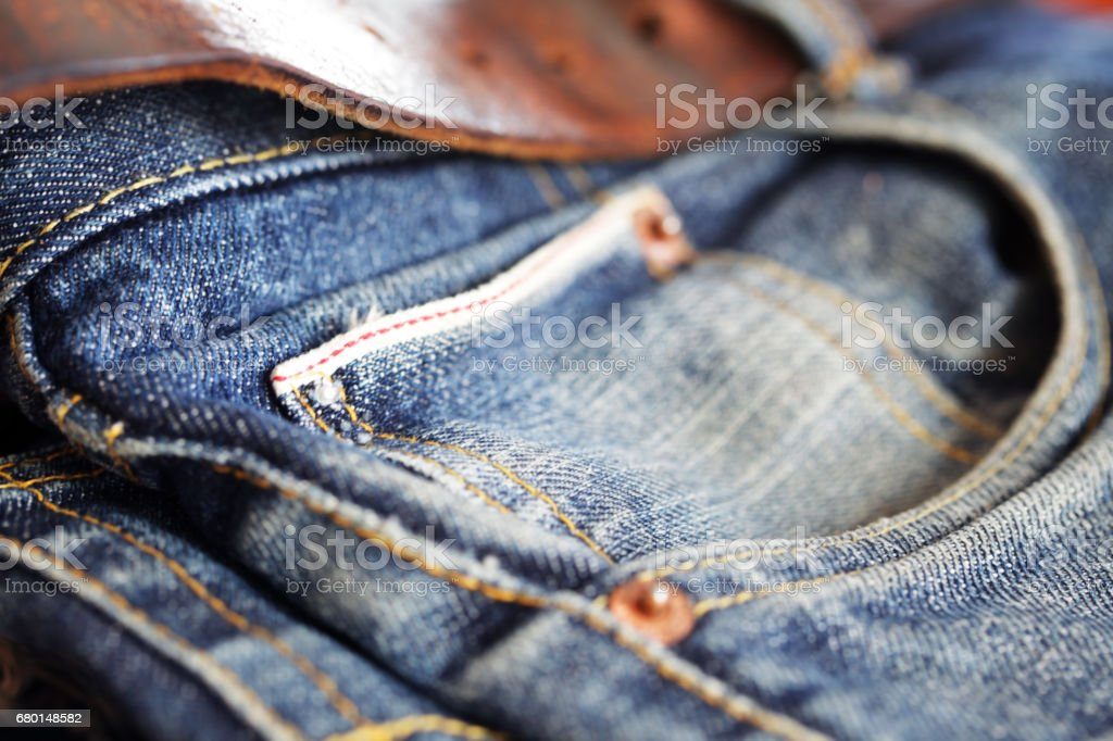 close up of jean texture background stock photo