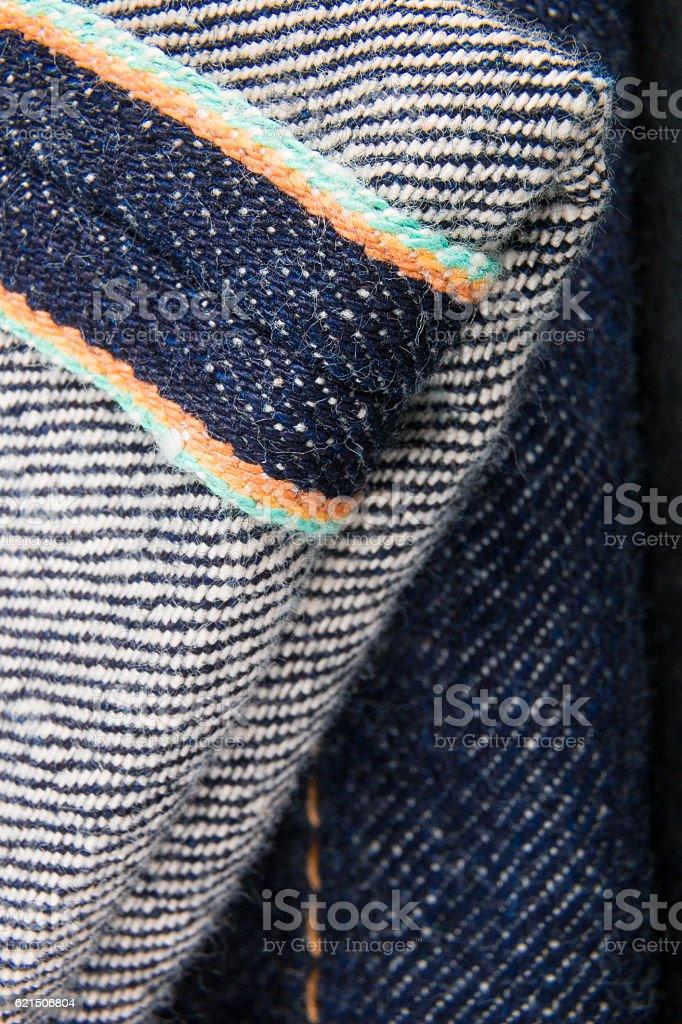 Close up of jeans fragment selvage. Denim texture. photo libre de droits