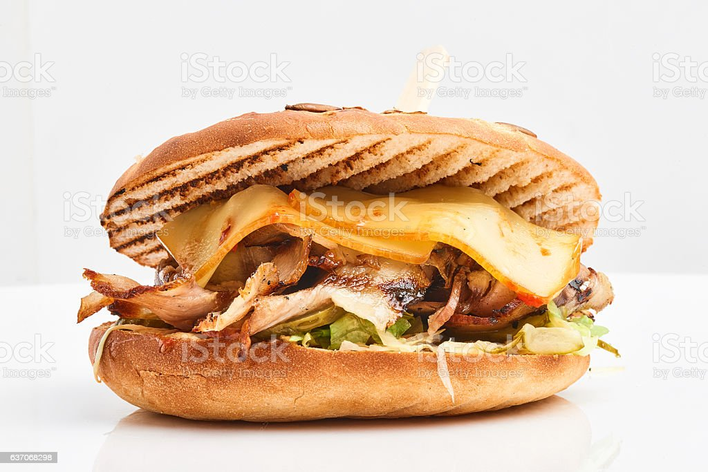 close up of kebab sandwich on white background stock photo