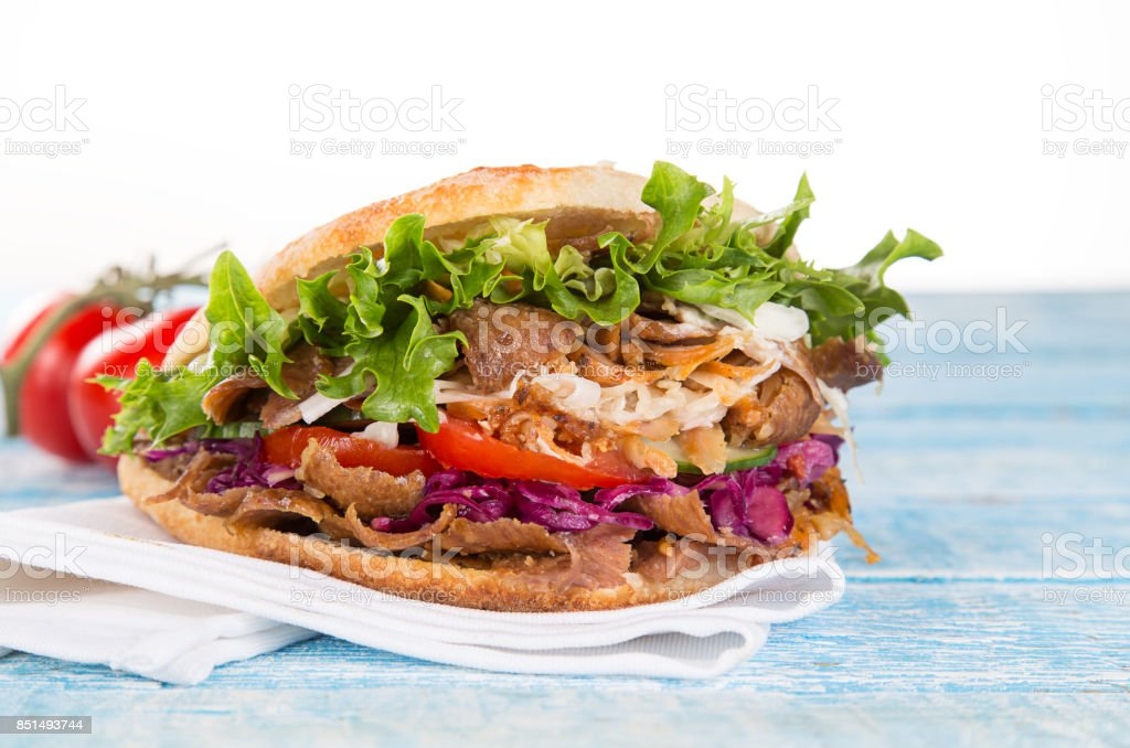 close up of kebab sandwich close up of kebab sandwich on white background Animal Stock Photo