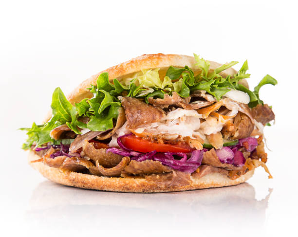 close up of kebab sandwich stock photo