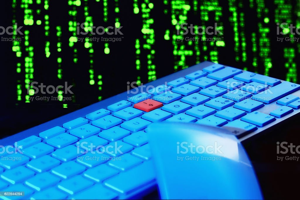 Close up of keyboard, blue light. Red key - fotografia de stock