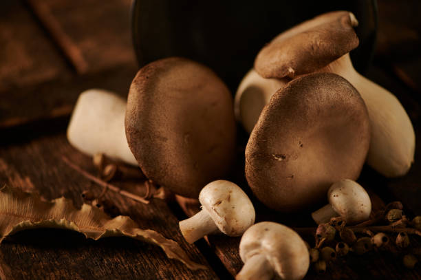 close up of king oyster mushrooms on wooden surface stock photo