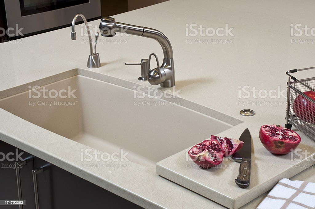 Close up of kitchen sink stock photo