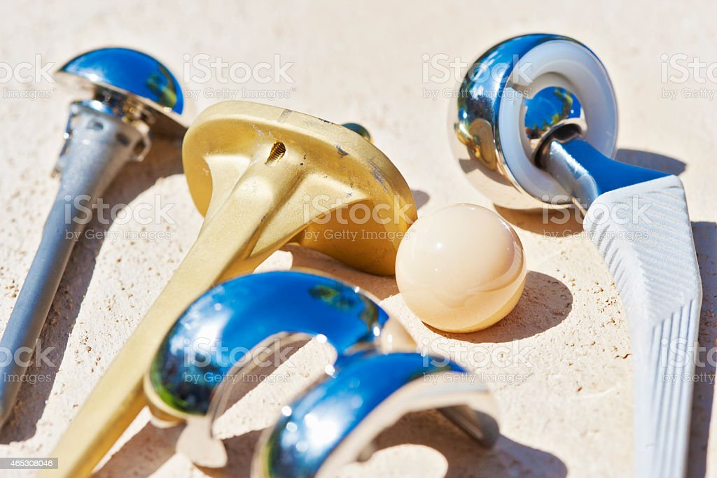 Close up of knee shoulder and hip prosthesis stock photo