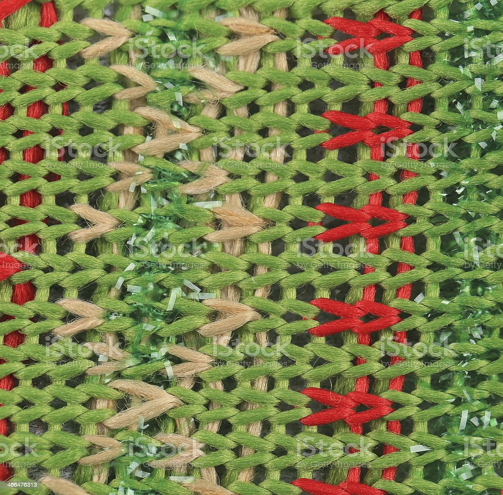 Close up of knitted fabric texture with dots. stock photo