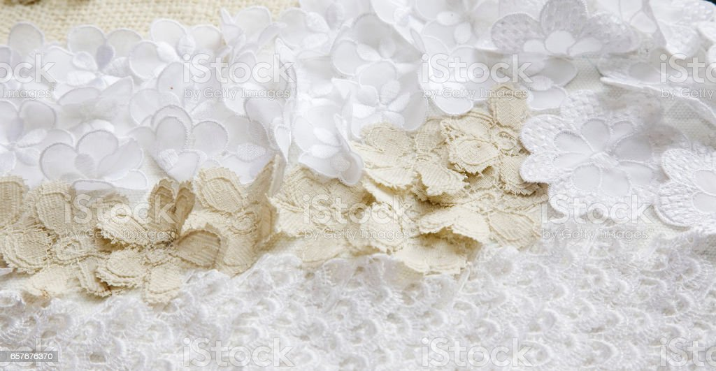 Close up of lacework from wedding dress stock photo