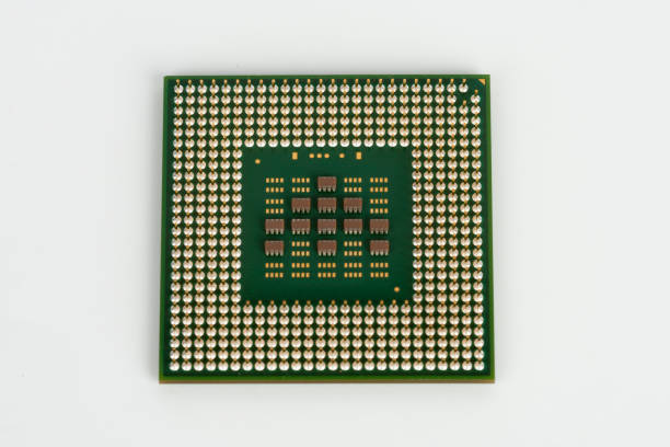 Close up of  laptop processor on white background stock photo