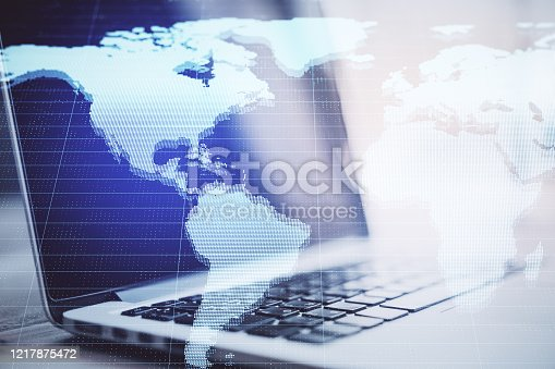 1177116437 istock photo Close up of laptop with digital map 1217875472