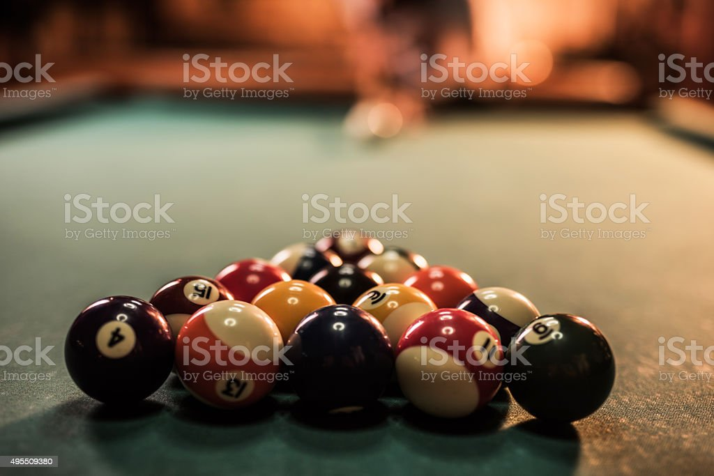 Close up of large group of pool balls on table. stock photo