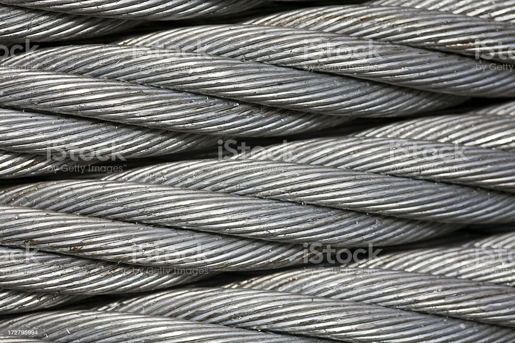 Close up of large industrial metal cable; background. stock photo
